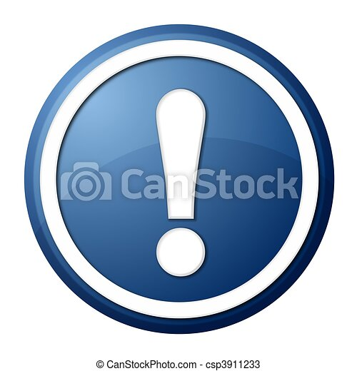 blue exclamation point button - csp3911233