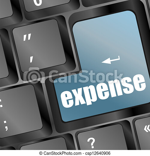 Blue expense button on the keyboard close-up - csp12640906