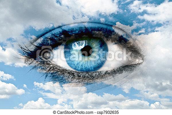 Blue eye and blue sky - Spiritual concept - csp7932635