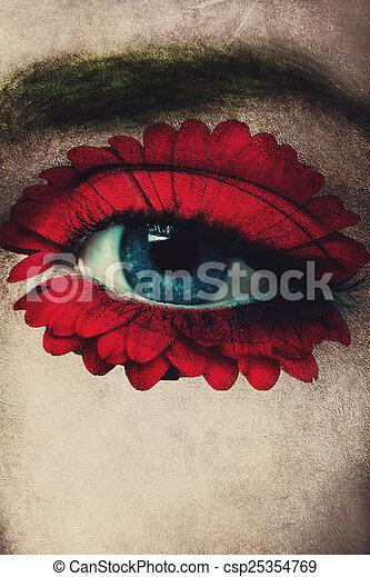 blue eye and flower - csp25354769