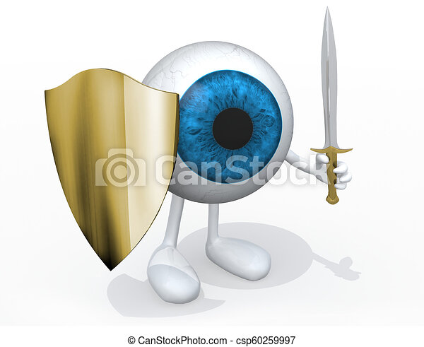 Blue eye ball with sword and shield - csp60259997