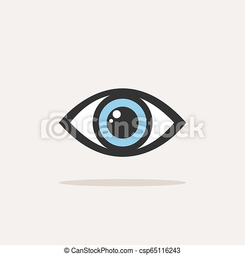 Blue eye icon with shade on a white background - csp65116243