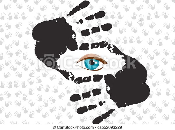 Blue eye looking at you through hand frame. Blue humans eye looking ...
