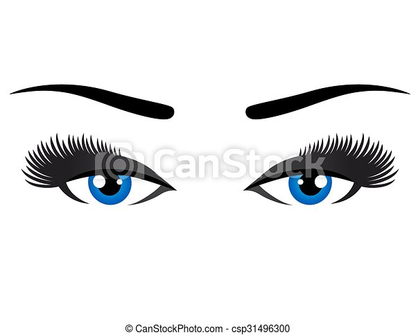 blue eyes with long eyelashes - csp31496300