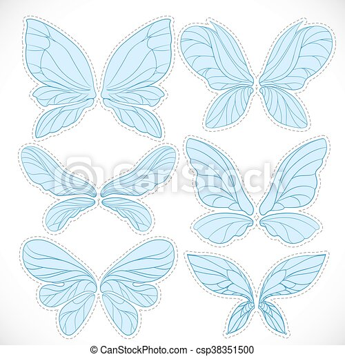 Blue fairy wings with dotted outline for cutting set isolated on a white background - csp38351500