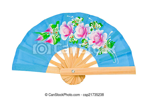 blue fan isolated on white background - csp21735238