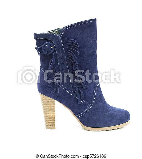 Blue female shammy boot isolated on white - csp5726186