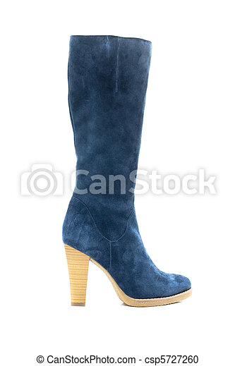 Blue female shammy boot isolated on white - csp5727260