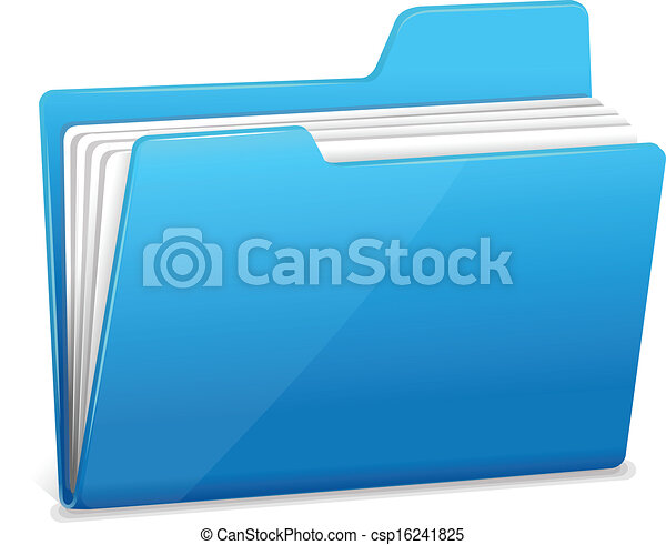 Blue file folder with documents - csp16241825