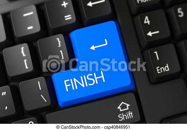 Blue Finish Keypad on Keyboard. 3D. - csp40846951