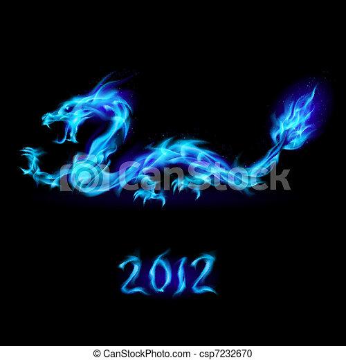 Blue fire Dragon - csp7232670