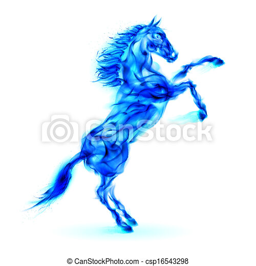 Blue fire horse rearing up. - csp16543298