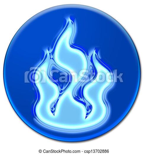 Blue fire icon - csp13702886