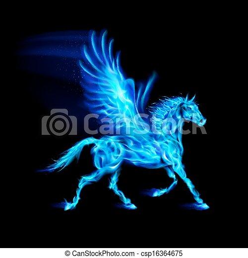 Blue fire Pegasus. - csp16364675