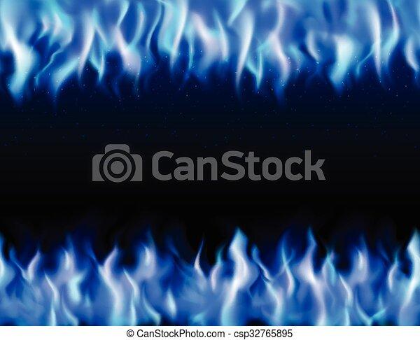 Blue Fire Tileable Borders  - csp32765895