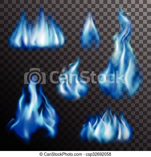 Blue Fire Transparent Set - csp32692058