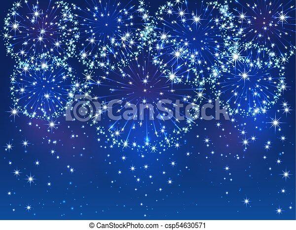 Blue firework on sky background - csp54630571