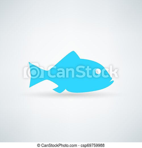 blue fish icon on white background - csp69759988