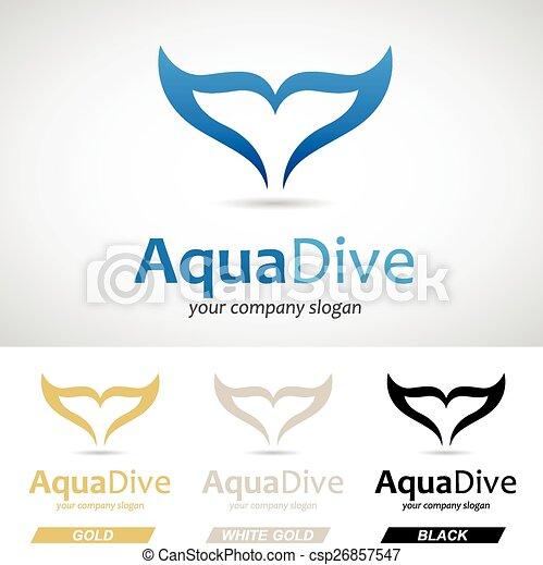 Blue Fish Tail Logo Icon - csp26857547