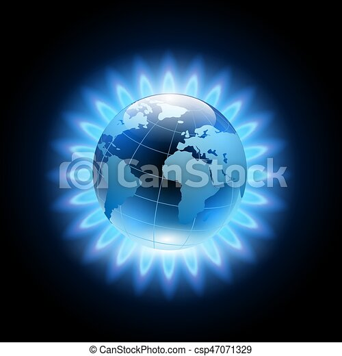 blue flame around the planet earth - csp47071329