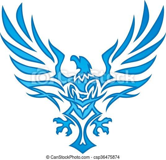 Blue Flame Eagle Tattoo - csp36475874
