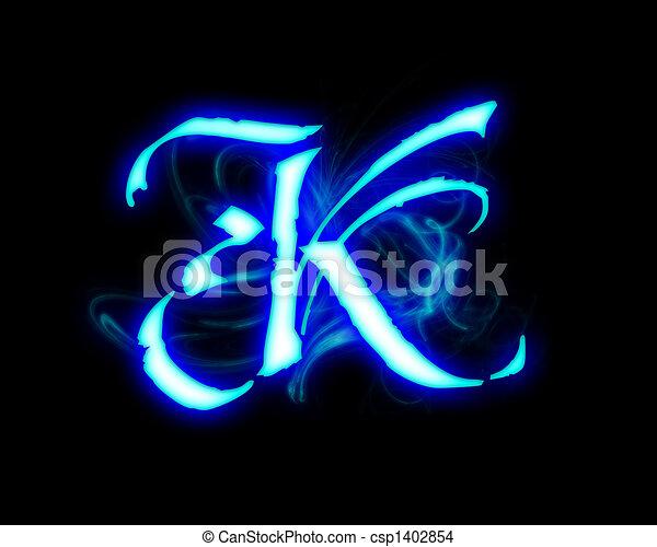 Blue flame magic font over black background  Letter K