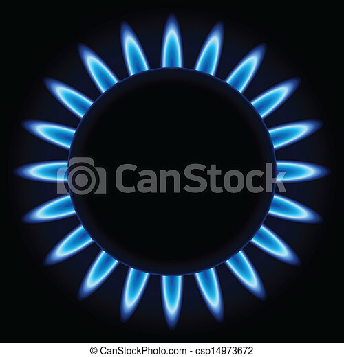 Blue flames ring of kitchen gas burner - csp14973672