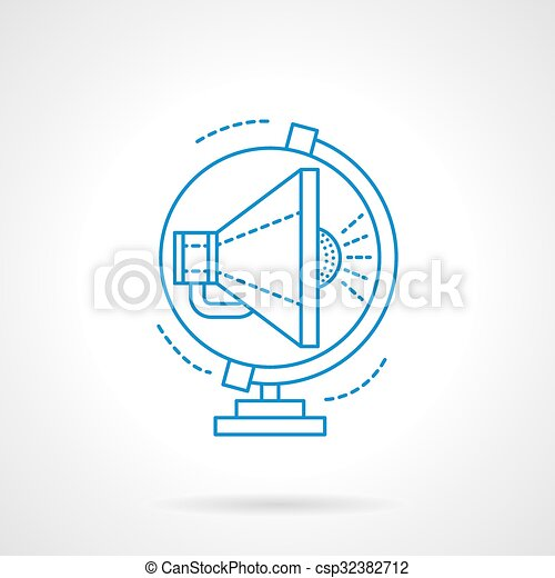 Blue flat line global advertising vector icon - csp32382712