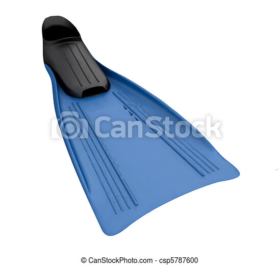 Blue Flippers On The White Background Isolated. Vector - csp5787600