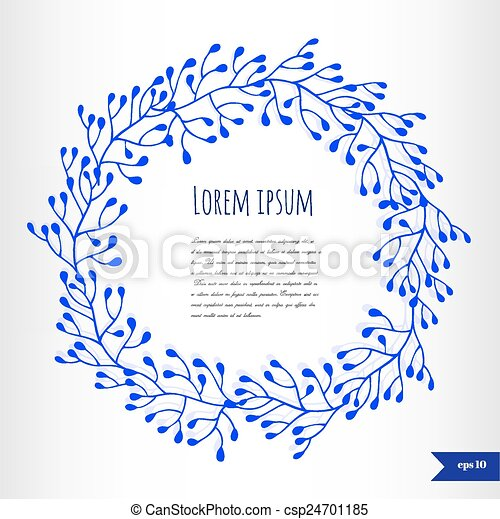Blue floral frame with place for your text - csp24701185