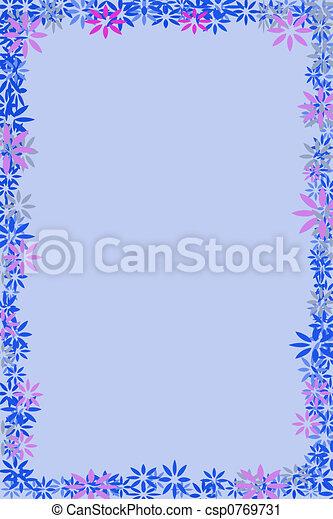 Blue Flower Border Stock Illustration