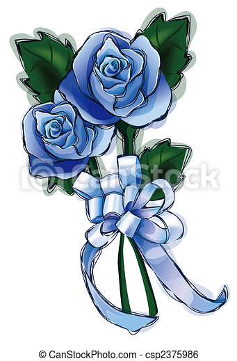 Blue Flower Blue Rose Flower With Bow In A White Background