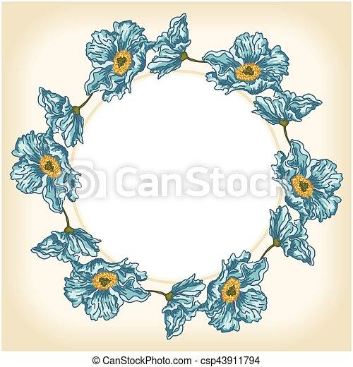 Blue flowers background circle frame - csp43911794