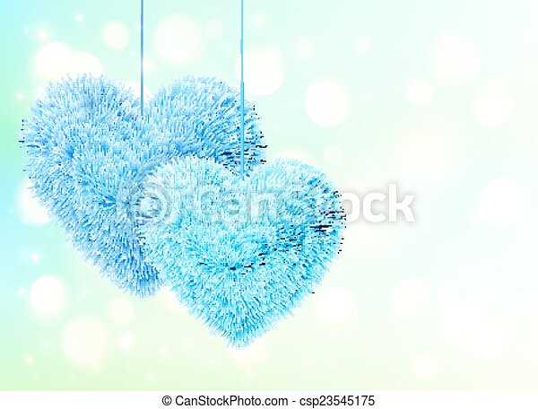 Blue fluffy hearts pair greeting card horizontal template - csp23545175