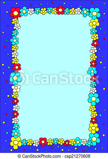 blue frame with colorful flowers - csp21270608