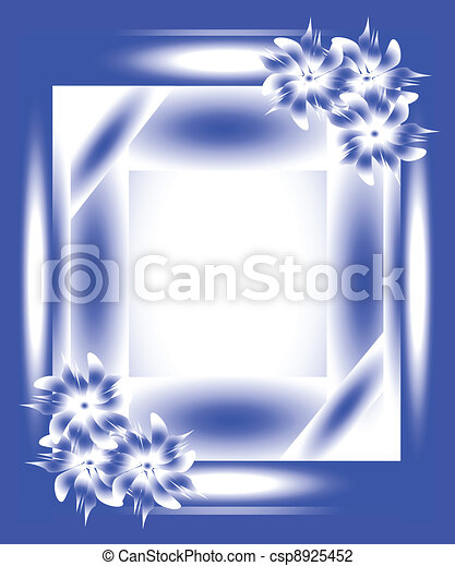 Blue frame with flowers - csp8925452