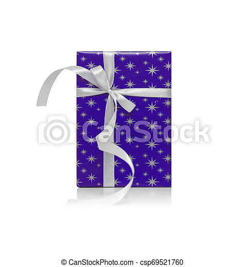 Blue gift box with ribbon isolated on a white. - csp69521760