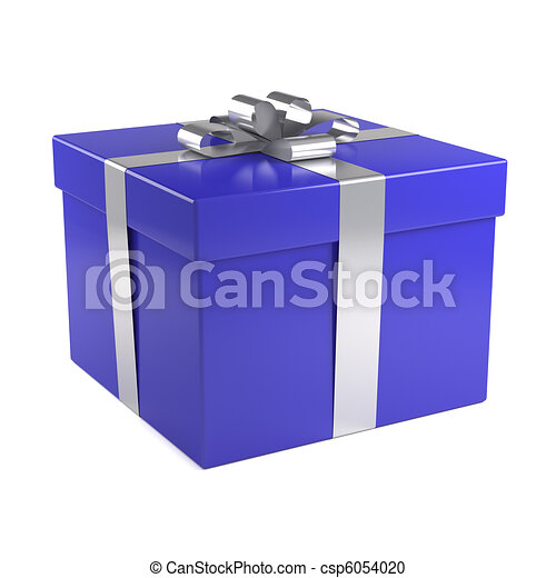 blue gift box with silver ribbon - csp6054020