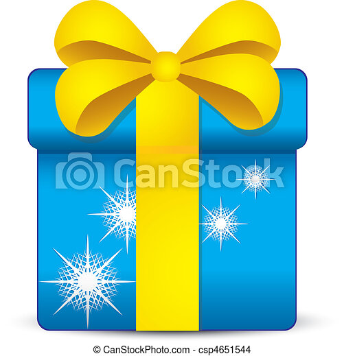 Blue gift box with snowflakes and yellow ribbon, vector illustration - csp4651544