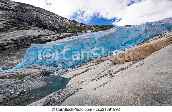 Blue glacier Nigardsbreen in Norway - csp31691992