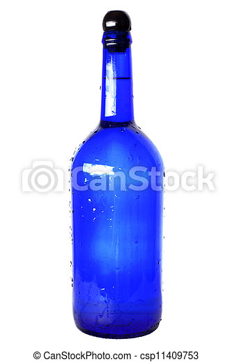 blue glass bottle with cap isolated on white - csp11409753