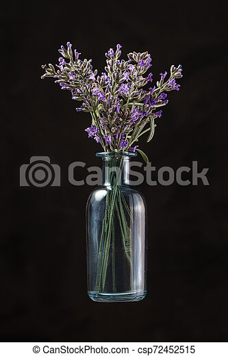 Blue glass bottle with lavender flowers on black background. Aromatherapy - csp72452515