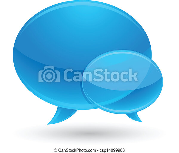 Blue Glass Speech Bubbles Icons - csp14099988