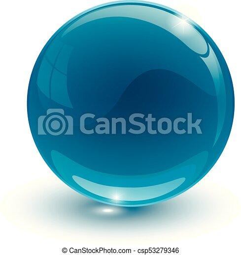 Blue glassy ball on white background - csp53279346