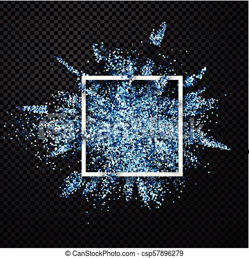 Blue glitter explosion on transparent background. - csp57896279