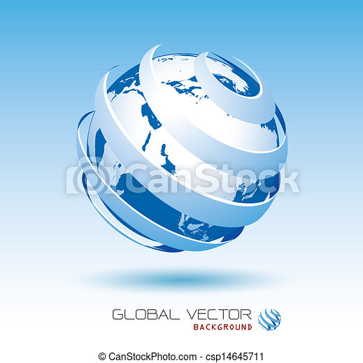 blue global vector background  - csp14645711