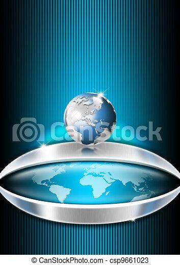 Blue Globe Business Background - csp9661023