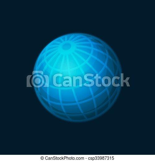 Blue Globe Network Icon on Dark Background. Vector - csp33987315