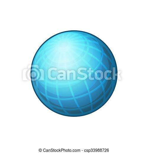 Blue Globe Network Icon on White Background. Vector - csp33988726