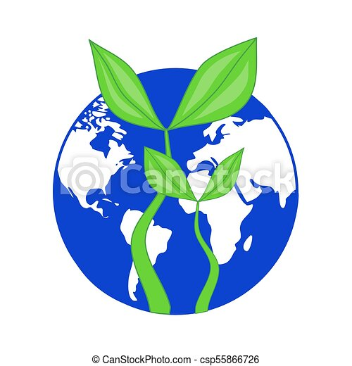 Blue Globe Planet Earth With Growing Green Leaves Plant Symbol Of